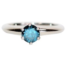 GIA Certified Tiffany & Co .75ct Fancy Blue Diamond Platinum Solitaire Ring