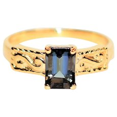 Mesmerizing Mystical 1.24ct Certified Tanzanite 14kt Yellow Gold Solitaire Ring