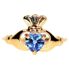 Vibrant Irish Claddagh .80ct Ceylon Sapphire 10kt Yellow Gold Solitaire Ring