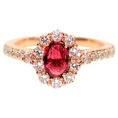 Strawberry Statement LeVian 1.29tcw Untreated Ruby & Diamond 14kt Rose Gold Ring