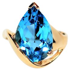 9020e8cbe Large Statement 8ct Blue Topaz 14kt Yellow Gold Solitaire Ring