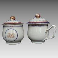 Pair Chinese Export Pot de Creme circa 1790