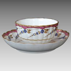 18th C. English Caughley Porcelain Cup and Saucer