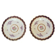 PAIR 18th Century Worcester Polychrome Dishes