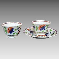 Gaudy Welsh Type Porcelain Cups & Saucer