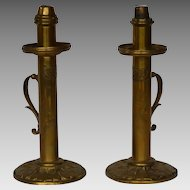 PAIR 19th C. Palmer & Co. London Patented Brass Candlesticks