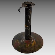 Tole Painted Hogscraper Candlestick circa Early 19th Century