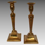 Near Pair Federal Brass Candlesticks circa 1800