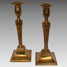 Near Pair Federal Brass Candlesticks circa 1800