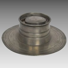 19th Century Hinged Lid Pewter Inkwell