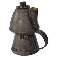 19th Century American Tin Whale Oil Lamp