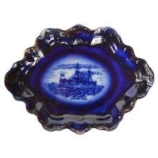 Very Rare Flow Blue Transferware Dish - U.S.S. New York