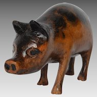 Vintage American Folk Art Carved Pig