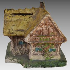 Vintage Chalkware House Coin Bank