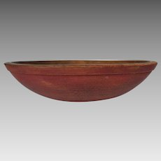 Antique American Wood Bowl in Original Red Paint