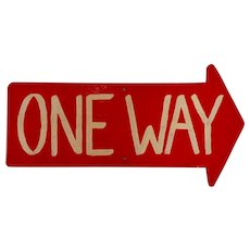 Vintage American One Way / Arrow Sign