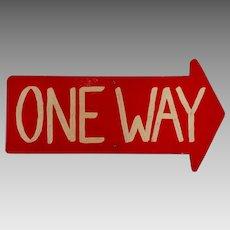 Vintage American One Way / Arrow Sign