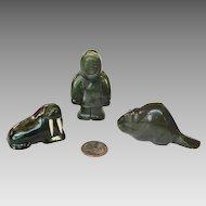 THREE Eskimo Jade Figures
