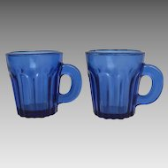 Pair 19th Century Pressed Glass Cobalt Handled Whiskey Tasters