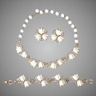 Kramer Lucite Tulip Necklace / Bracelet / Earring Set