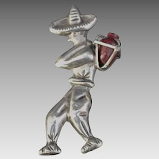 Vintage Mexican Sterling Silver Brooch