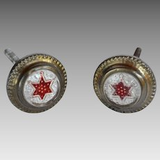 PAIR of Victorian Red Star Sulphide Curtain Tiebacks / Picture Holder