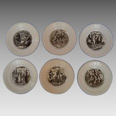 SET of 6 French Sarrequemines Transfer Printed Plates