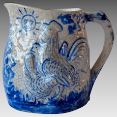 Dedham Pottery Morning and Night Pitcher
