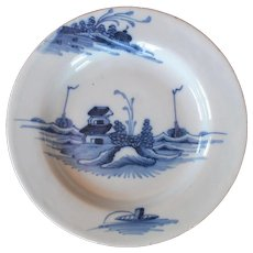 English Delft Blue White Plate circa 18th Century