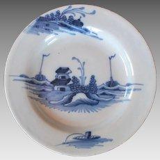 English Delft Blue White Plate circa 18th Century