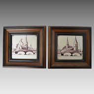 Pair Framed Delft Manganese Tiles - circa 18th Century