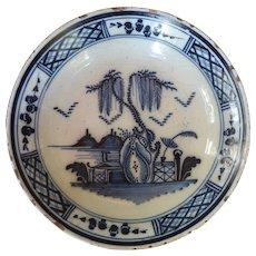 18th C. English Delft Blue & White Deep Dish