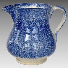 19th C. Blue Spatterware Creamer