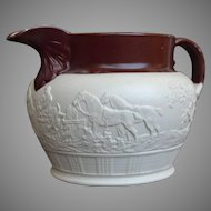 Circa 1800 English Stoneware Sprig Molded Hunting Jug