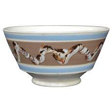 English Mochaware Earthworm Pattern Bowl ca. 1830