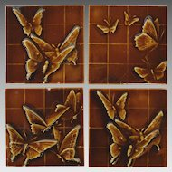 SET of 4 - U.S. Encaustic Butterfly Tiles ca. 1880