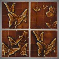 SET of 4 - U.S. Encaustic Butterfly Tiles ca. 1880