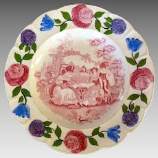 Early Staffordshire Pink Transfer Plate with Painted Border