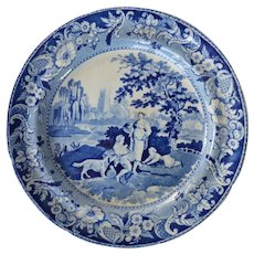 "Staffordshire  ""Villagers"" Plate - marked Davenport"