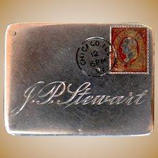 Sterling Silver Stamp Holder dated 1891