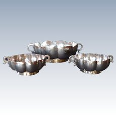 Vintage Mexican Sterling Silver 3 Piece Bowl Set