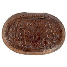 Carved Snuff Box with Russian Eagle Motif