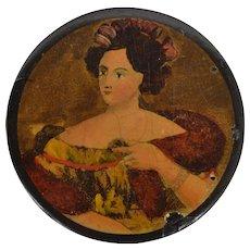 Georgian Papier Mache Snuffbox with Beautiful Lady