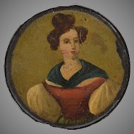 Georgian Papier Mache Snuffbox with Beautiful Lady