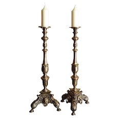 19th Century, Baroque Style Candlesticks