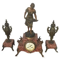 19th Century, Art Nouveau Rouge marble and dore bronze clock