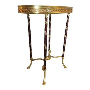 French 19th Century Louis XVI style Mahogany, Ormolu and Marble Side Table