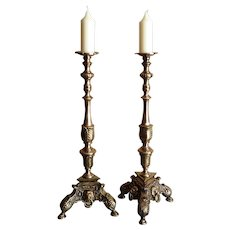 French Baroque Style Bronze Candleholders, Lion Heads