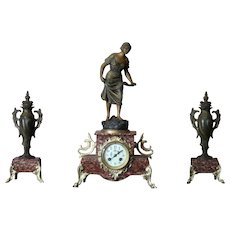 Art Nouveau Rouge Marble Mantel Clock
