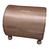 Gorgeous Art Deco Engine Turned Brass Cigarette Box - Barrel Shaped